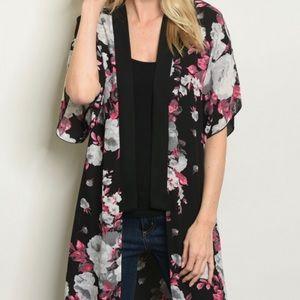 Sweaters - Floral print kimono